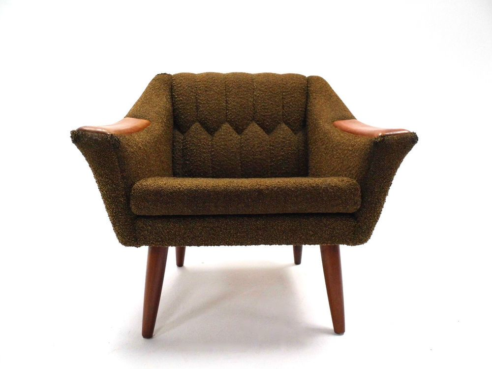 vintage norwegian green wool teak armchair midcentury chair 1960s