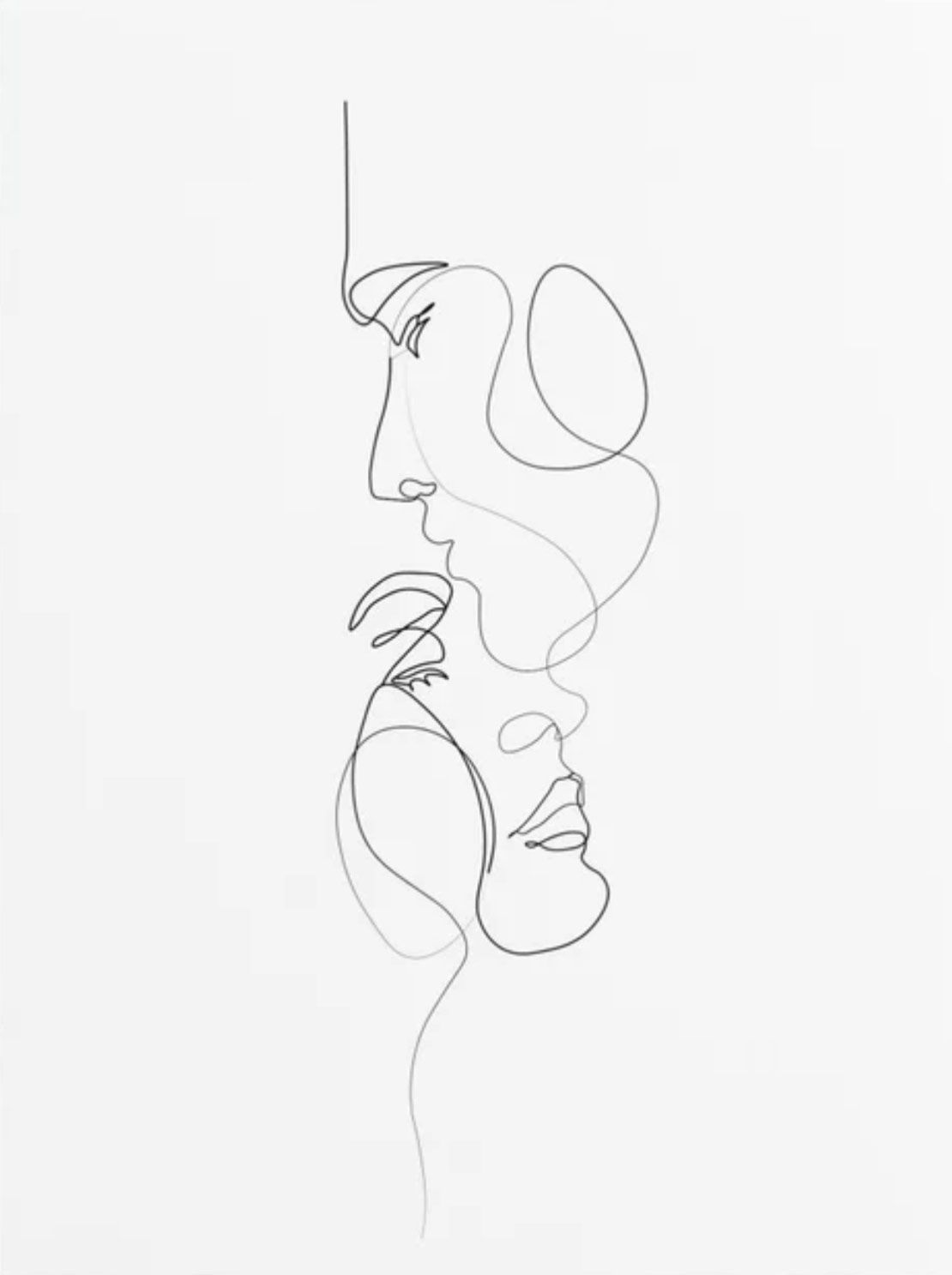 Lovers, a minimalistic line drawing art print #abstraktezeichnungen A simple lin…