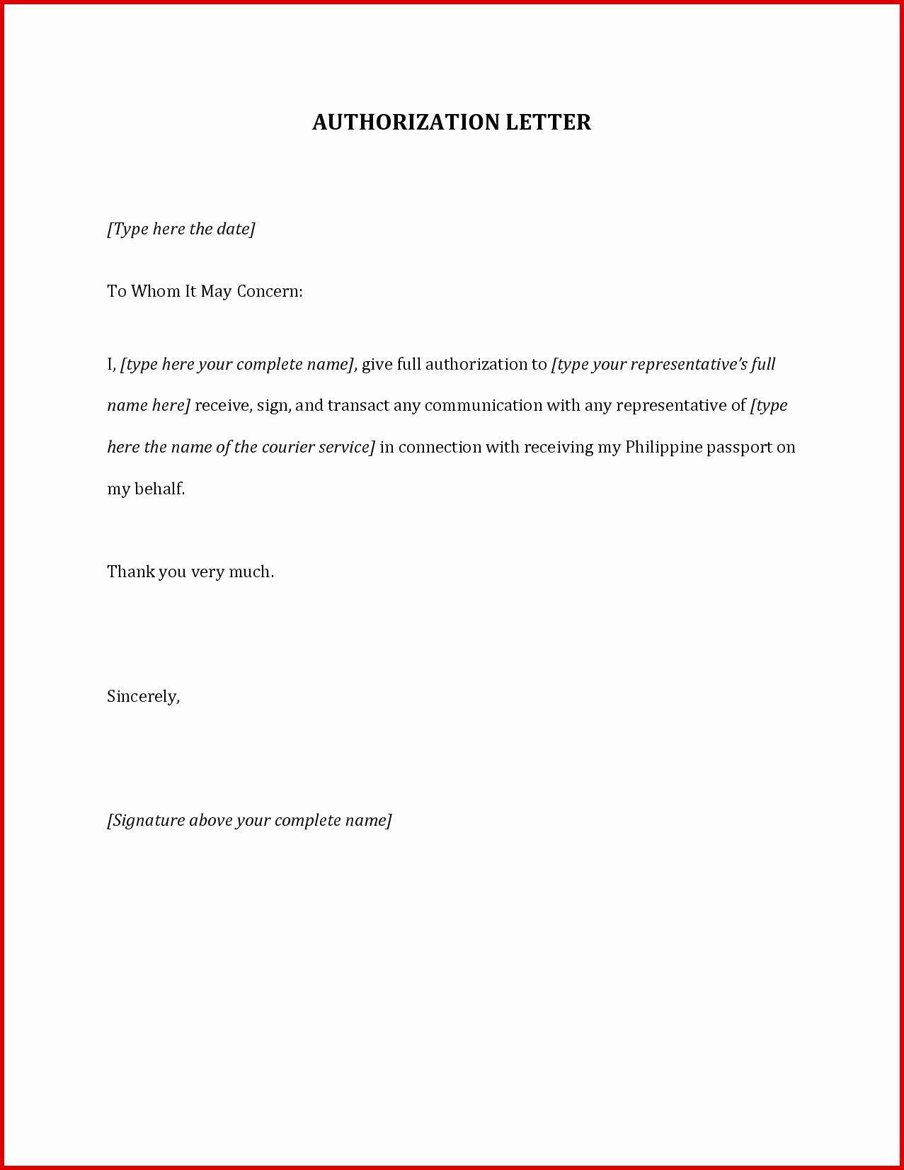 Authorization Letter Sample 10 Best Authorization Letter