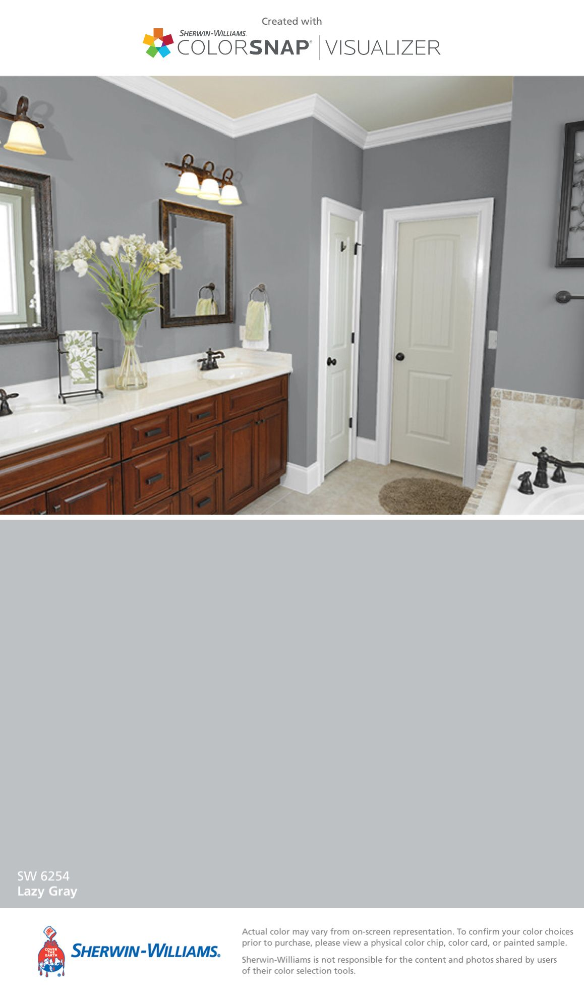 I found this color with colorsnap visualizer for iphone by sherwin williams lazy gray sw 6254 for Interior paint color visualizer