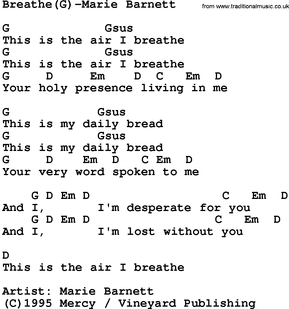 This Is The Air I Breathe Sheet Music Erkalnathandedecker