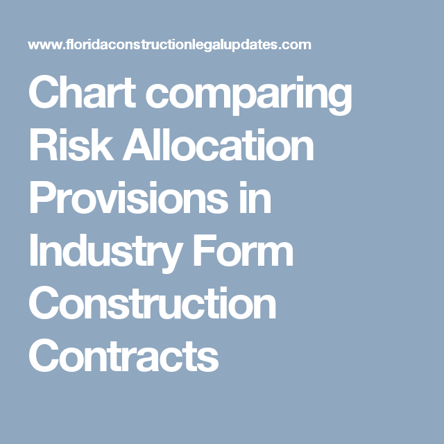 Chart Comparing Risk Allocation Provisions In Industry Form