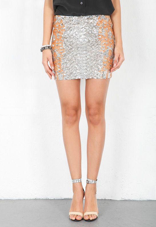 Haute Hippie Python Sequin Mini Skirt in Buff