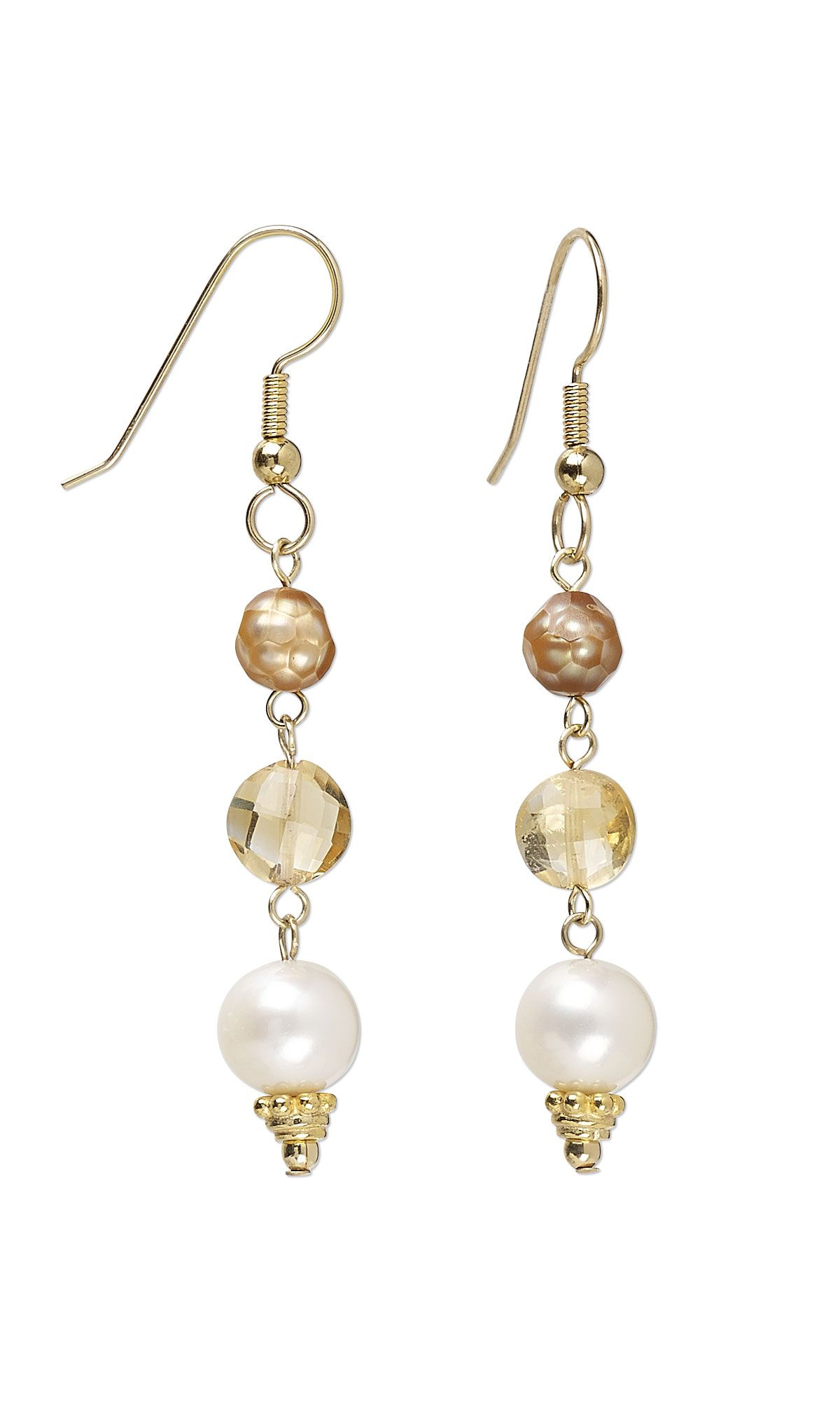 Jewelry Design - Earrings with Citrine Gemstone Beads and Cultured ...