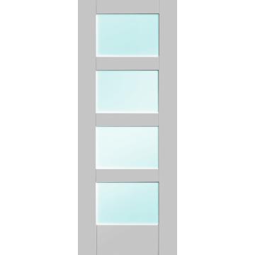 Shaker 4 Pane Door Clear Glass White Primed Deurbeslag