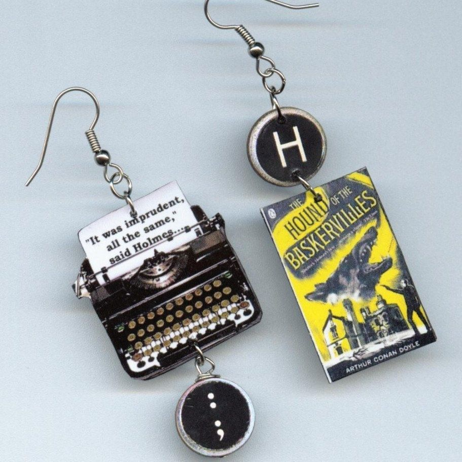 Book Earrings – The Hound of the Baskervilles Sherlock Holmes quote – typewriter jewelry – literary mystery book lovers readers gift