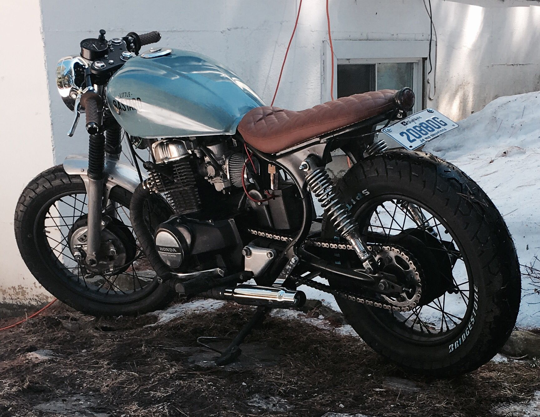 Moto Honda Cm450 1984 Caferacer Bratstyle Vintage Equiped With Biltwell Handle And Motogadget S Electronic Custom Cafe Racer Cafe Racer Honda Cafe Racer Bikes [ 1336 x 1730 Pixel ]