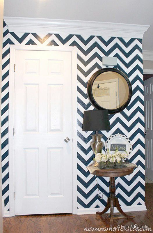 Diy tuturial for painting chevron stripes one of 100 for Interior wall paint designs