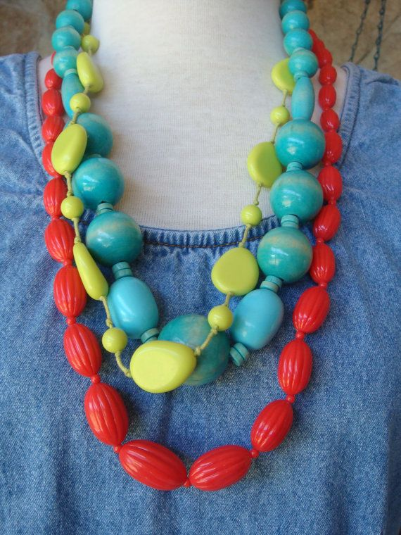 80s BRIGHT BEADED NECKLACES vintage set of by CherryBombVintage77, $25.00