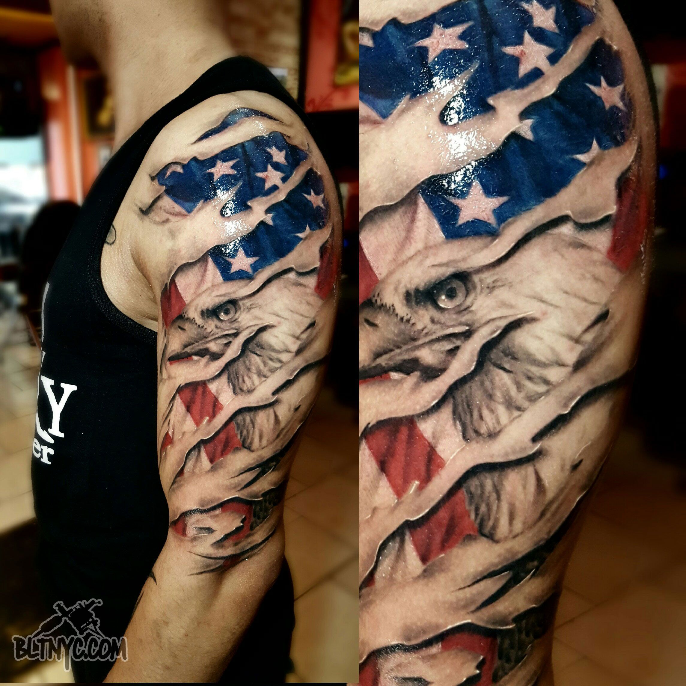 Shredded Skin With American Flag And Eagle Tattoo By