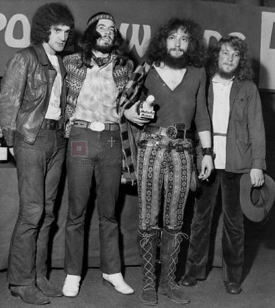 Jethro Tull 1970 line-up. Drummer Clive Baker, Glenn Cornick - bass guitar, Ian Anderson - vocals, flute & acoustic guitar, Martin Barre - lead guitar. John Evans (not pictured) played keyboards.