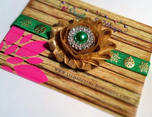 Christmas Green & Gold Ornaments Headband by lilDazzlingBOWtique