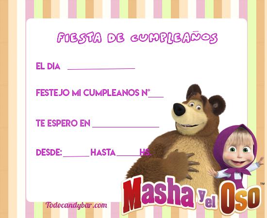 Masha Y El Oso Candy Bar Para Descargar E Imprimir Gratis
