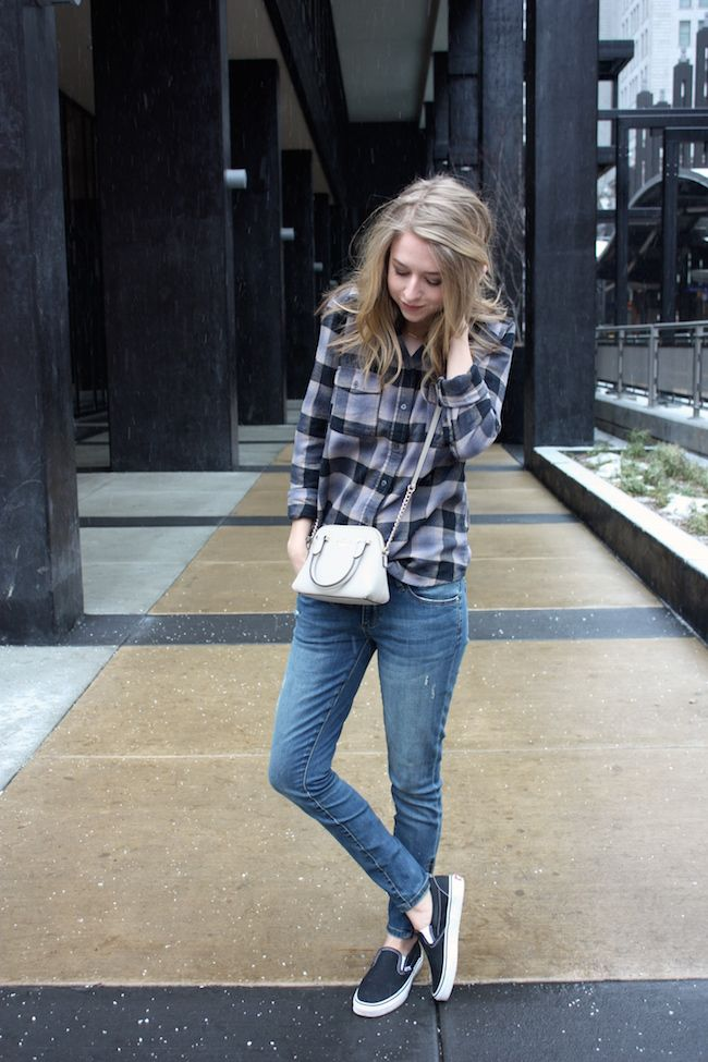 Kate Spade bag, JustFab denim, Lily and Violet flannel, Vans sneakers zipped