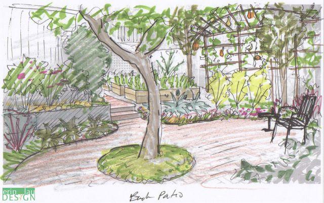 Patio Sketch With Edible Border Garden Drawing Garden Design Landscape Design