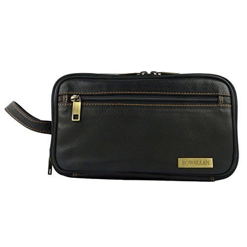 8e1857c547ef Mens QUALITY Leather Wash Bag by Rowallan of Sccotland Travel in Black or  Brown Stylish (