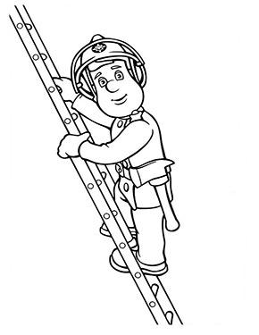 feuerwehrmann sam ausmalbild   sam auf der leiter zum kostenlosen ausdrucken und ausmalen. aus