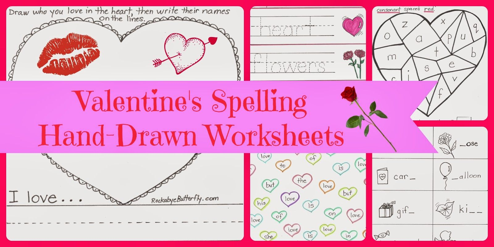 Valentine S Spelling Word Work Printables 8 Page Package By Rockabyebutterfly