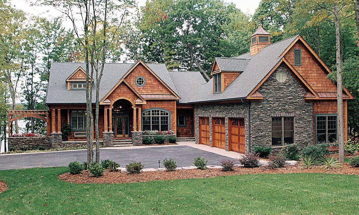 Plan 17500lv Great American Retreat Basement House Plans Craftsman Style House Plans Lake Houses Exterior