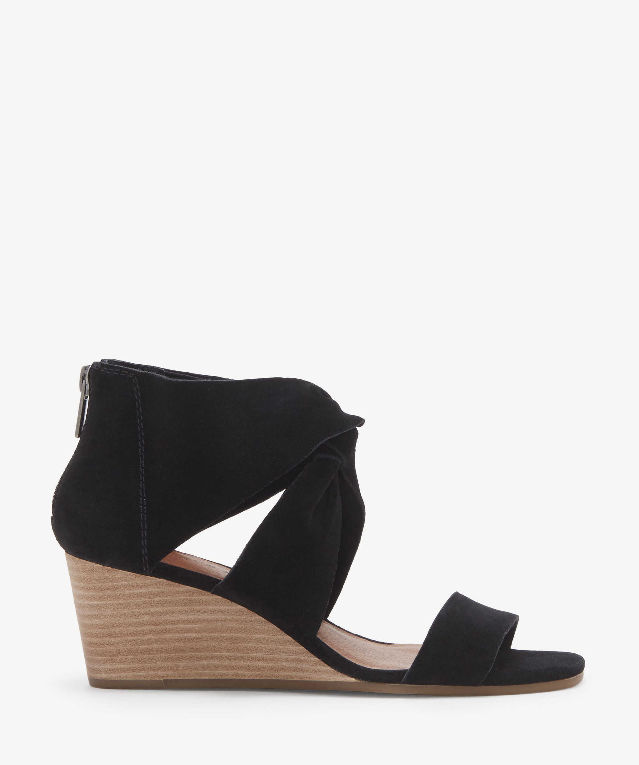 32b50ab34e Lucky Brand Women's Tammanee Knotted Wedges Black | Size 8.5 Suede From  Sole Society