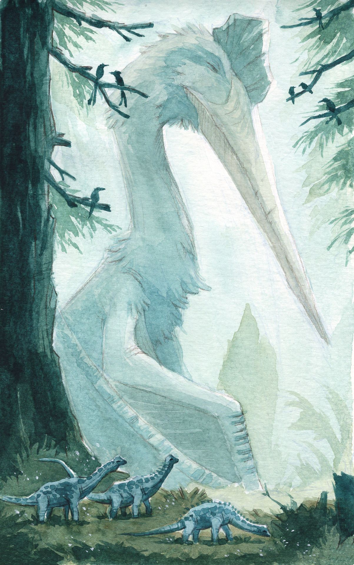 Kevan Hom: A group of young Alamosaurus wandering by a sleeping Quetzalcoatlus #prehistoricanimals