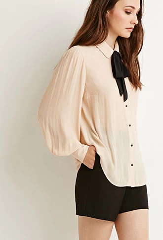 4f159692a9085 Self-Tie Bow Blouse