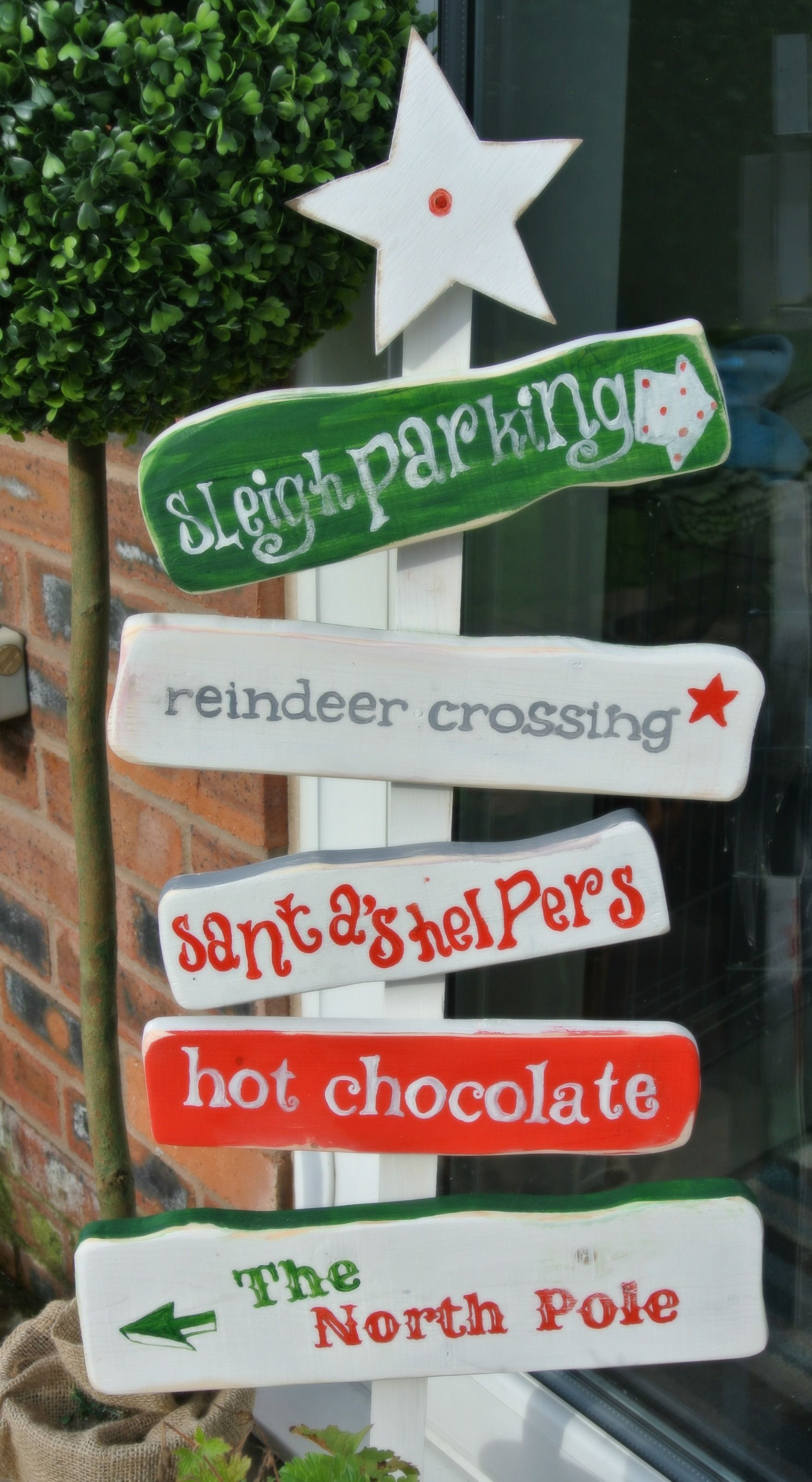 Wooden outdoor christmas decorations - Find This Pin And More On Wooden Sign Crafts North Pole Christmas Sign Decoration