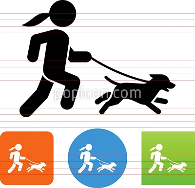 Woman Running With Dog Icon Dog Icon Animal Icon Icon