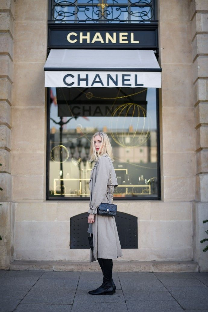 Trench coat, Chanel bag, Over the knee boots