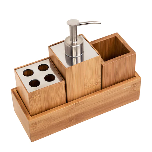 HoneyCanDo Bamboo 4piece Bath Accessory Set Bath