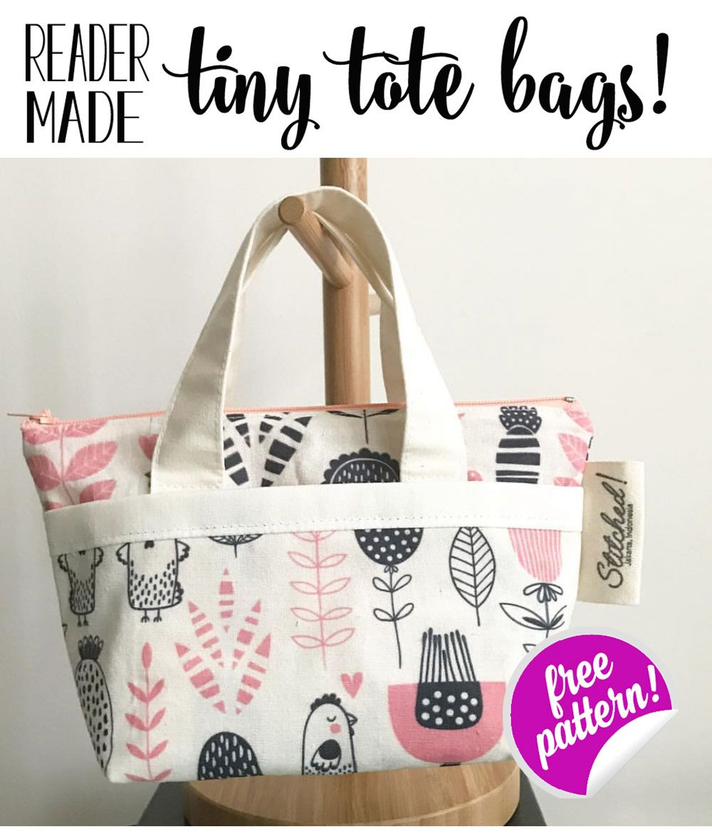 Show Off Saturday... adorable reader-made Tiny Tote Bags! (from my free pattern) #bagsewingpatterns
