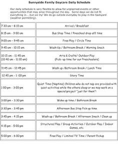 Daily daycare schedule | my | Pinterest | Daycare schedule