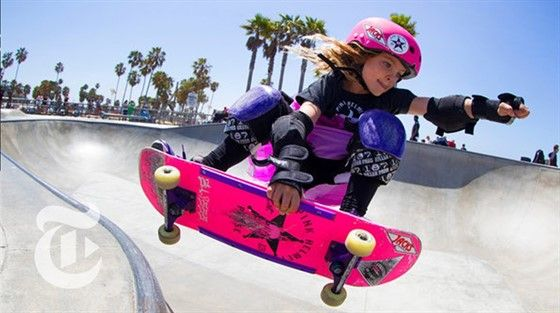 Gnarly In Pink Meet Bella Rella And Sierra A Trio Of Skateboarding Six Year Olds Who Form The Pink Helmet Posse Thi Pink Helmet Skateboard Skateboard Girl