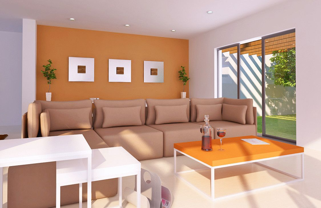 Salón pintura calabaza Interiores de casa, Colores para
