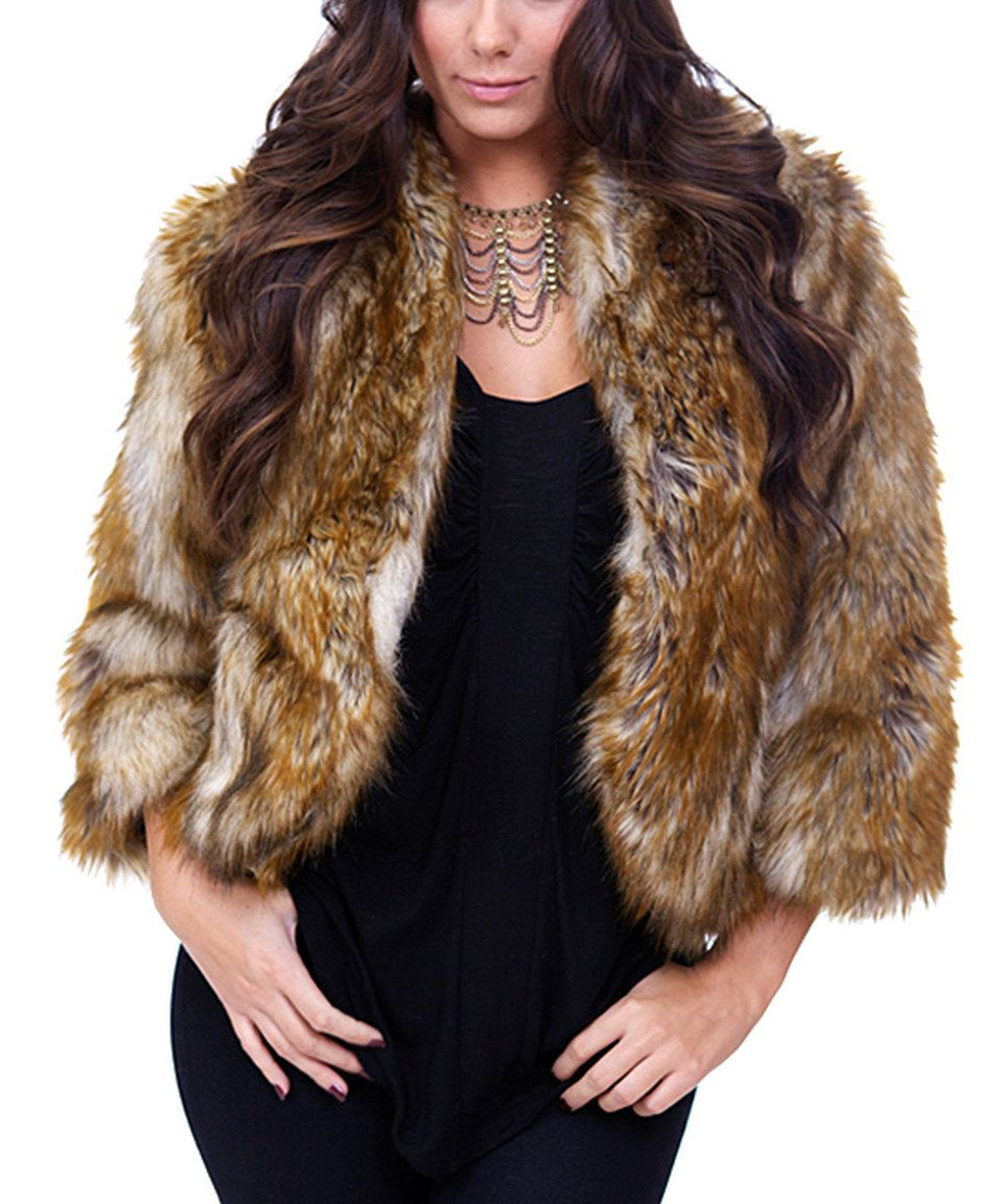 Safari by Imposter Brown   Cream Faux Raccoon Fur Crop Jacket - Women by  Safari by Imposter  zulilyfinds 1134ec424a58