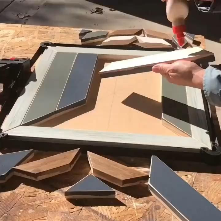 Click to see this easy DIY wooden wall art tutorial- full steps and pictures. Great scrap wood project idea. Make your own geometric wood mosaic decor. This is a pretty simple project for anyone comfortable with a Miter Saw. #woodworkingprojects #woodendecor #diyhomedecor #diywoodwork #diywoodprojects #scrapwood