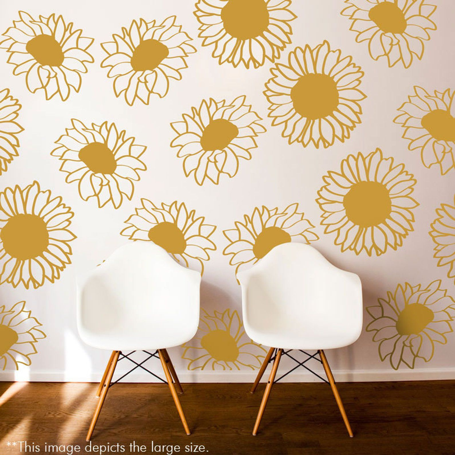 Large Sunflower Wall Pattern Decal Wall Decal Custom Vinyl Art