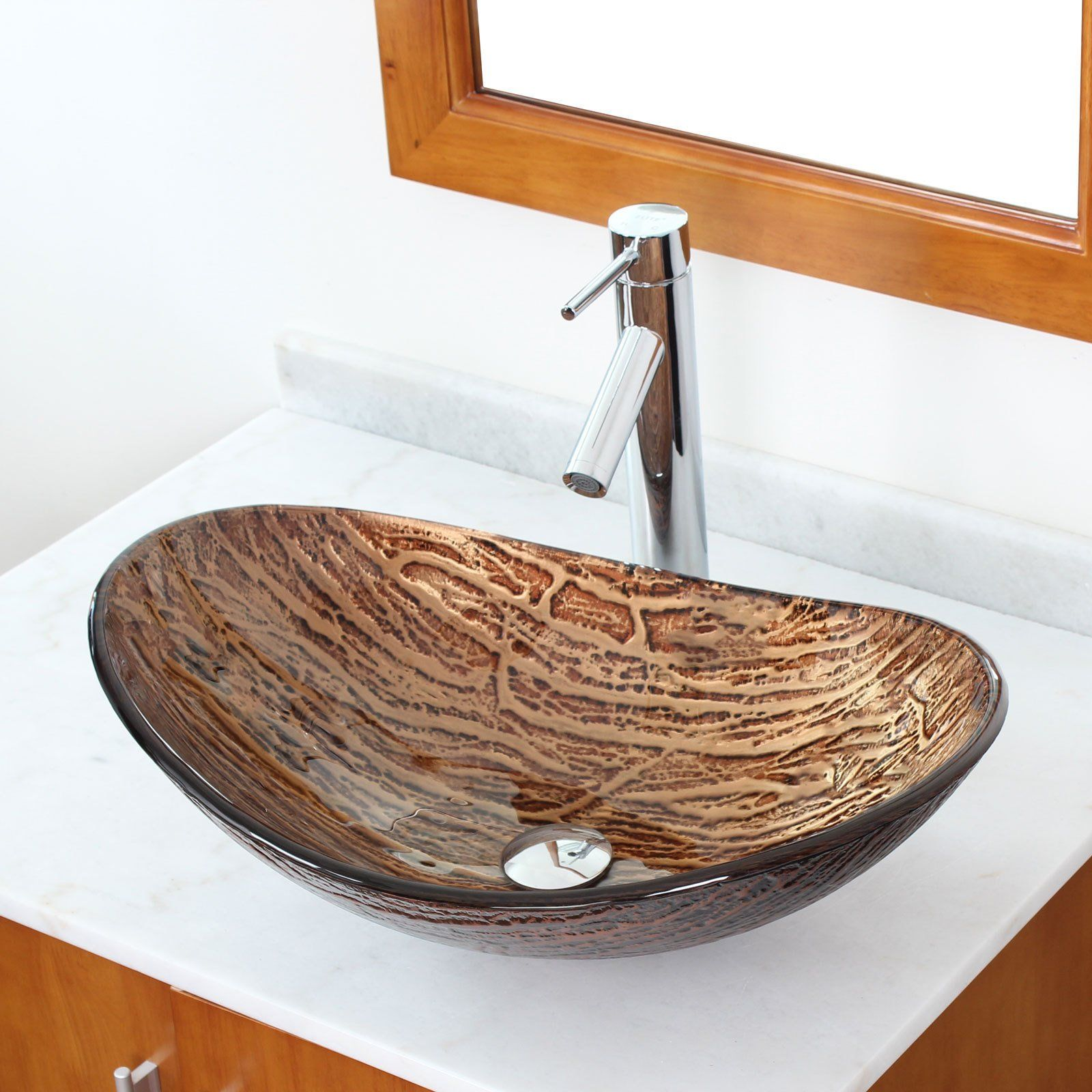Elite Hot Melt Tempered Glass Vessel Sink And Faucet Combo