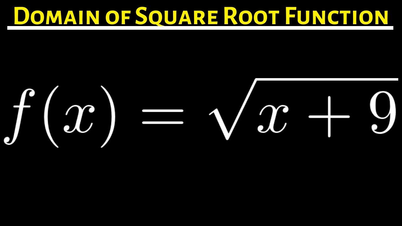 16 Domain Of The Square Root Function F X Sqrt X 9 Two Solutions Function Of Roots Square Roots Math Videos