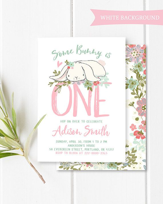 First Birthday Party In A Box In Gold Mint And Pink: Some Bunny Birthday Invitation Girl First Birthday Bunny