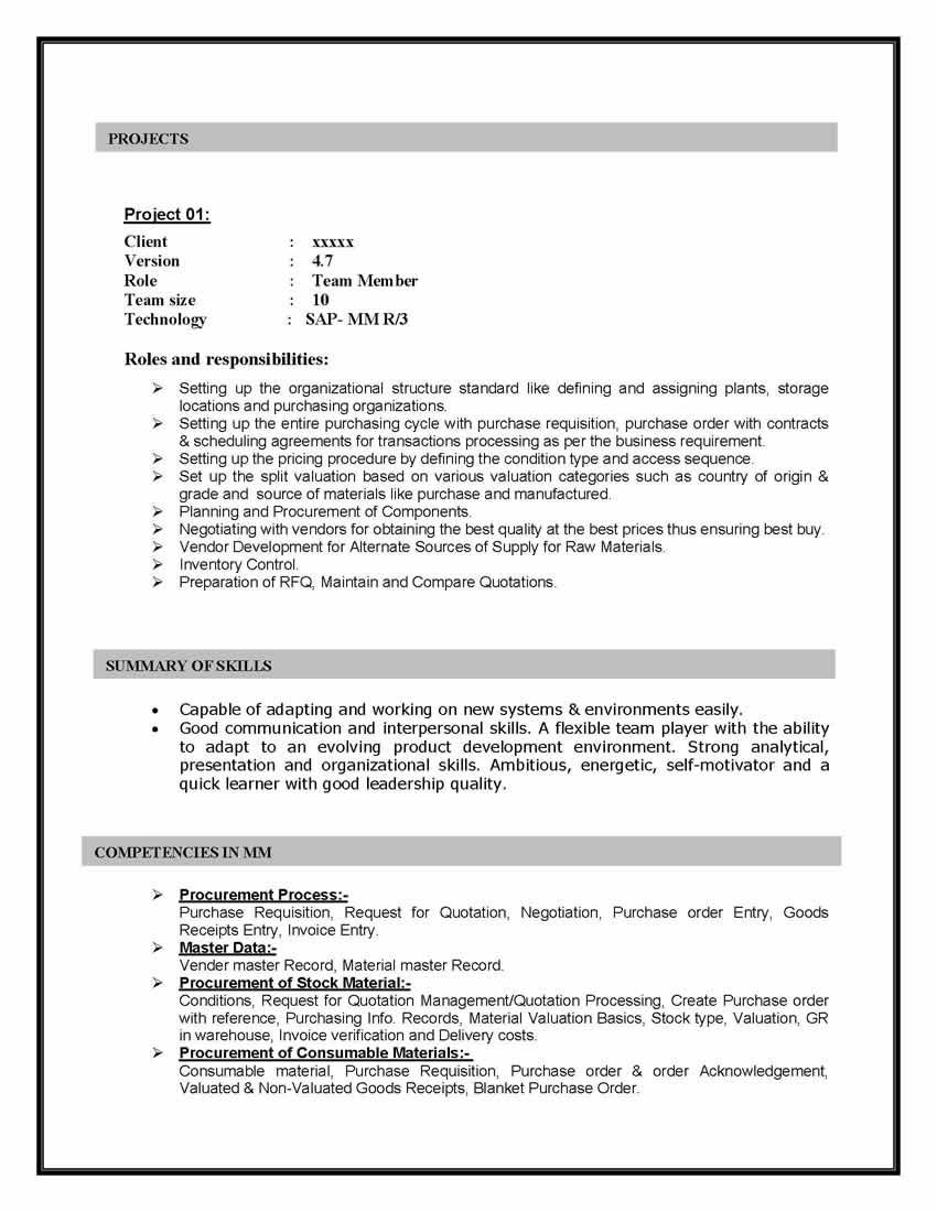 Sap Materials Management Sample Resume Years Experience Over And