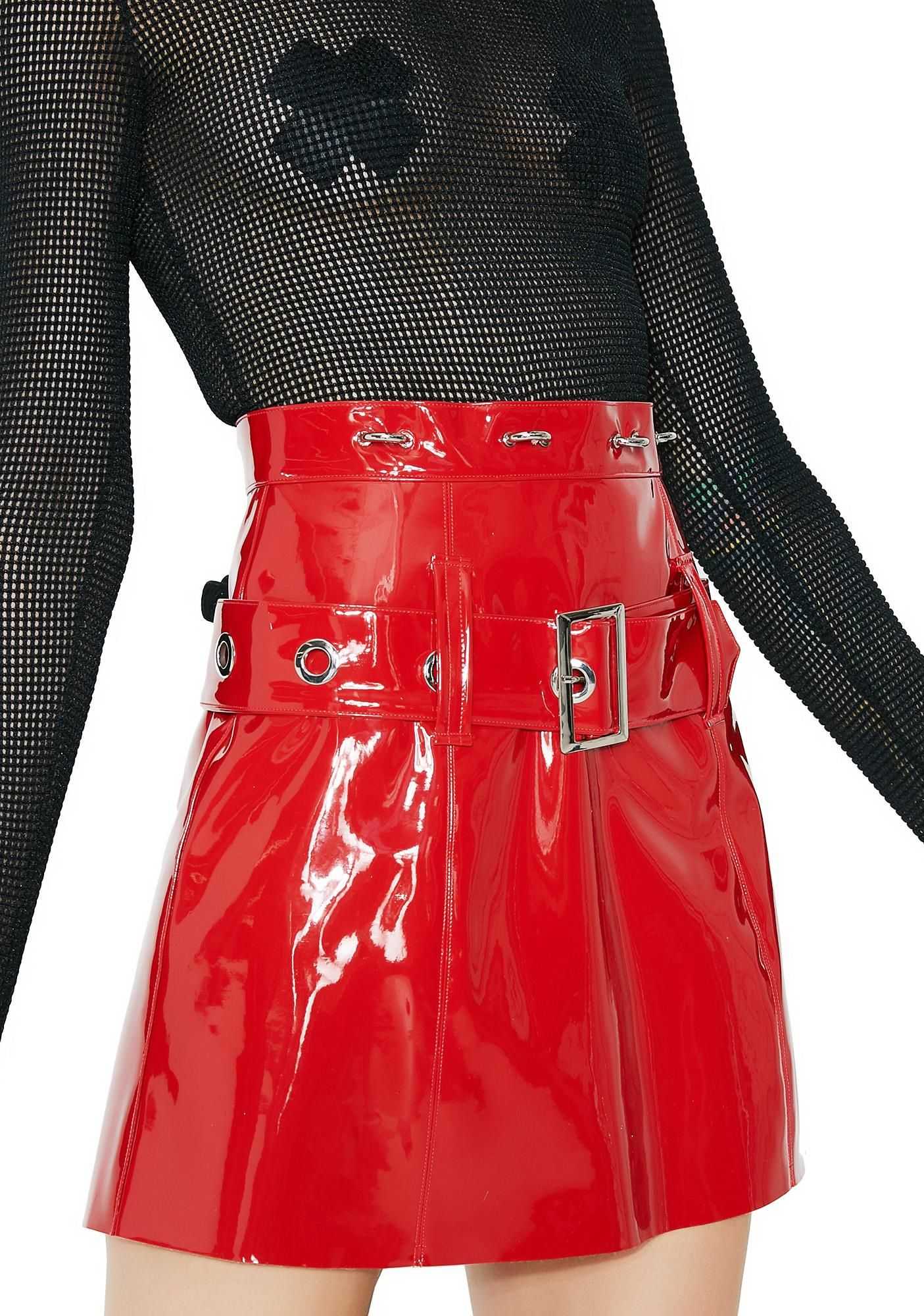 2133cf849 Stuck on Stupid High Alert Vinyl Skirt cuz heads are turnin' for ya. This  sikk red a-line skirt has a cool belt detail with silver buckle closure and  silver ...