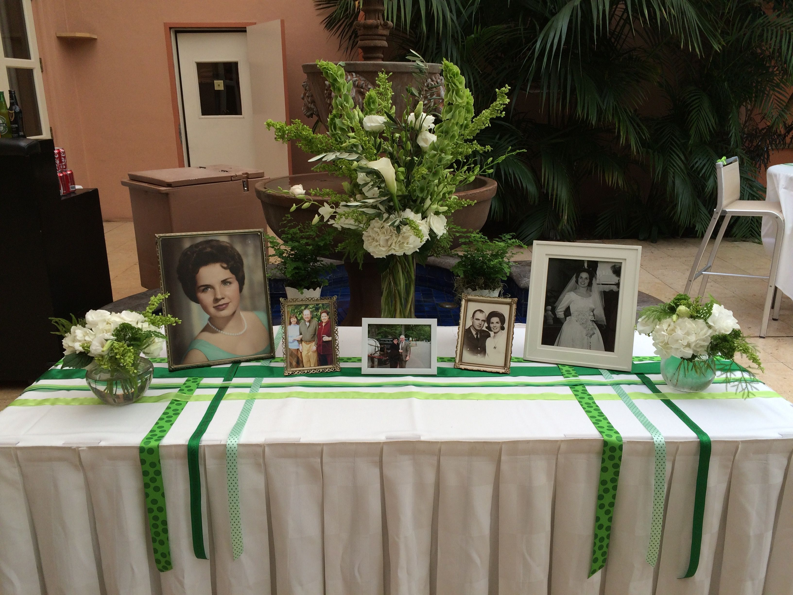Irish Wake Funeral Reception Flower Arrangements Flowers Memory Table
