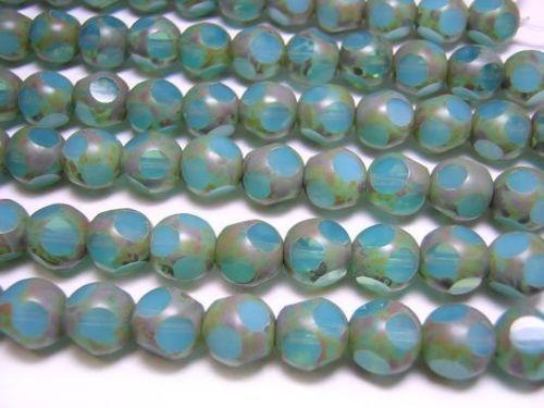 8mm Aqua Opal Picasso Czech Glass Window Cut Round Beads (18) #4125