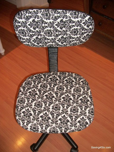 An old inexpensive desk chair recovered with new fabric!