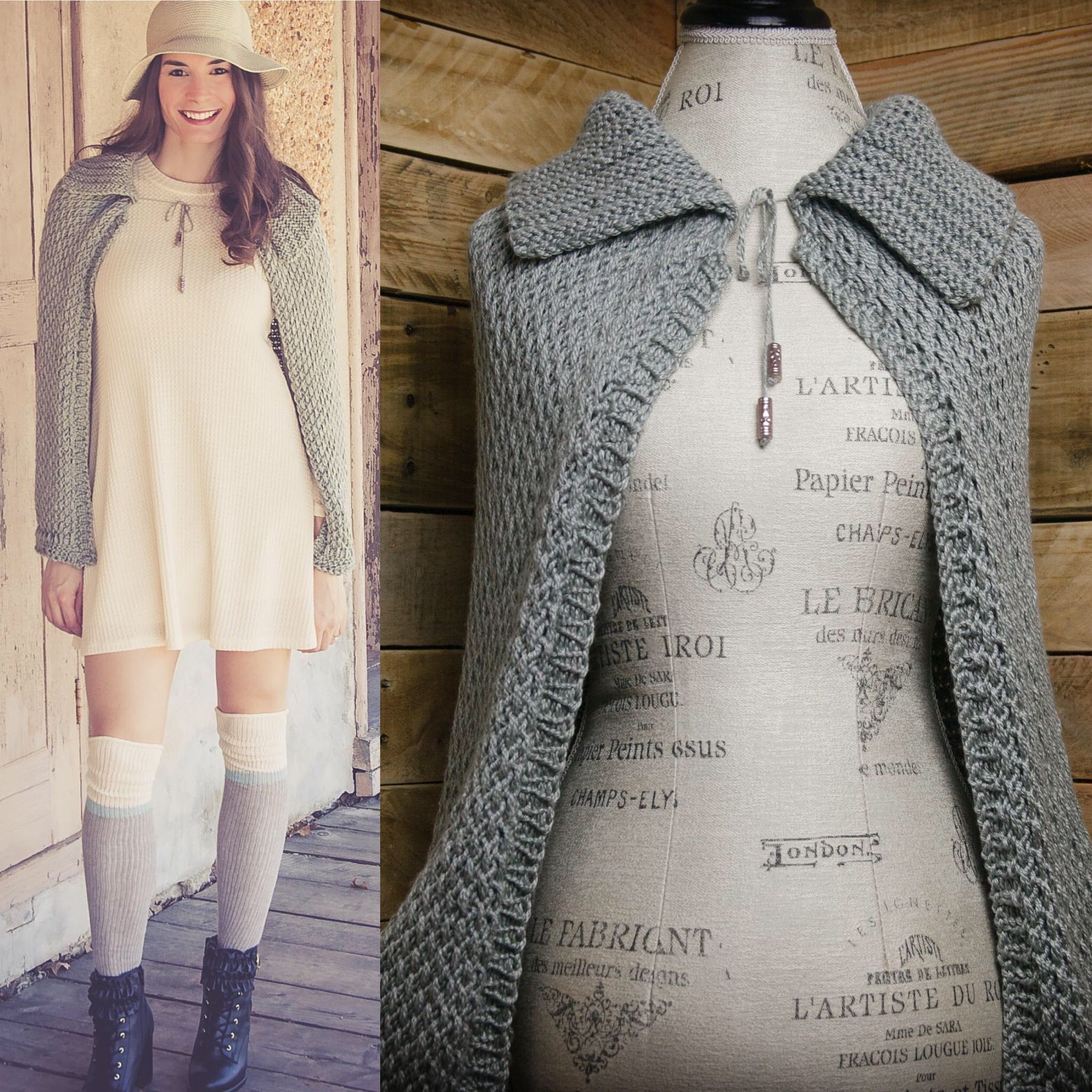 Loom Knit Cape Pattern, loom knit wrap, shawl, pattern. Full length ...