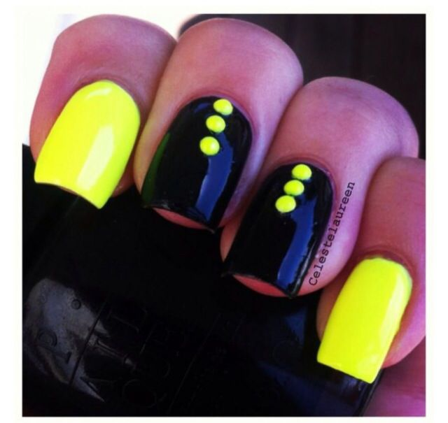 Black with yellow dots and yellow