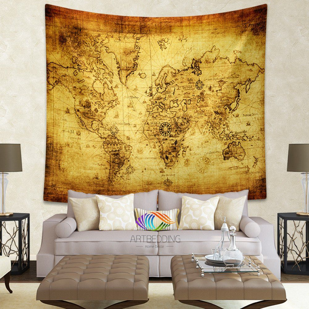 Old world map wall tapestry, Historical world map wall hanging ...