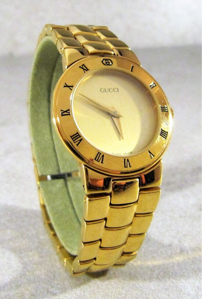 13f7e4e96 AUTHENTIC GUCCI 3300.2.L GOLD PLATED WITH GOLD DIAL SWISS MADE WOMEN'S WATCH  #GUCCI #Luxury