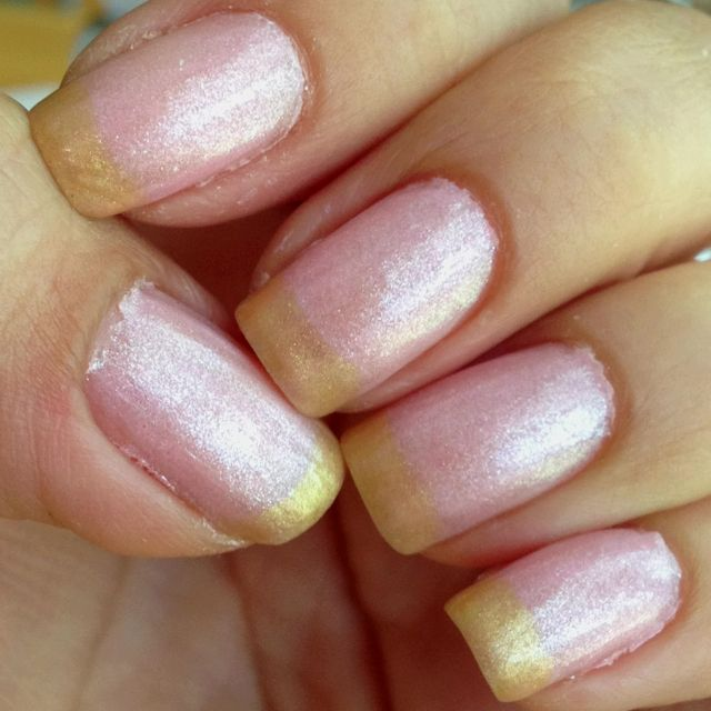 "Nails-Light pink ""n"" light gold French tip!"